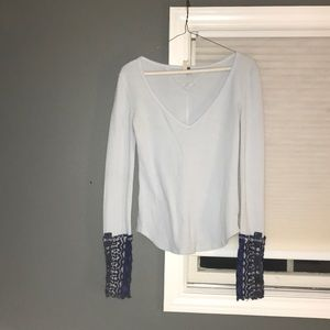 Free people embroidered thermal long sleeve